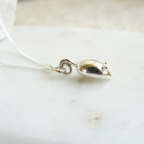 Lime Tree Design Mouse tiny  silver necklace 63