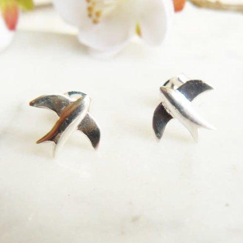 Lime Tree Design Swallow  stud silver earrings 66