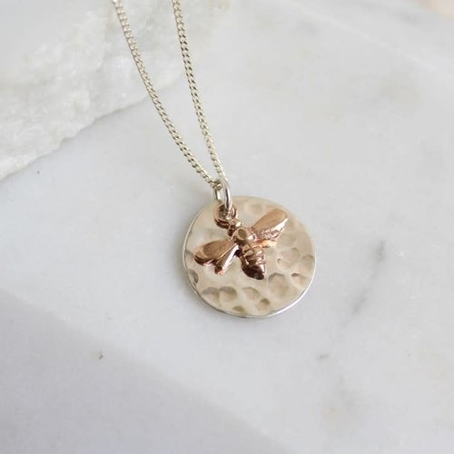 Lime Tree Design Hammered silver disc silver and rose gold vermeil  bee necklace 34