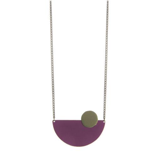 Just Trade Plum semi-circle brass necklace 015