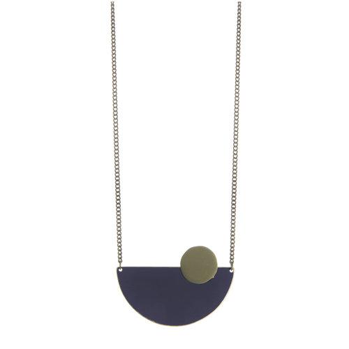Just Trade Collar de latón semicírculo azul marino 014