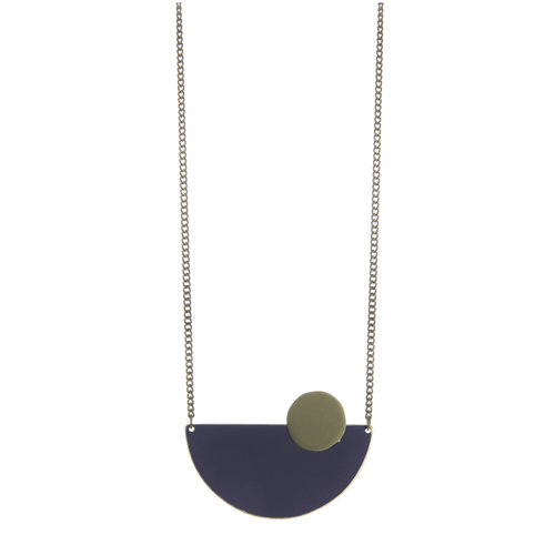Just Trade Navy semi-circle brass necklace 014