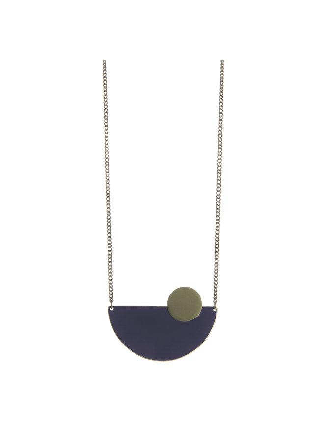 Navy Halbkreis Messing Halskette 014