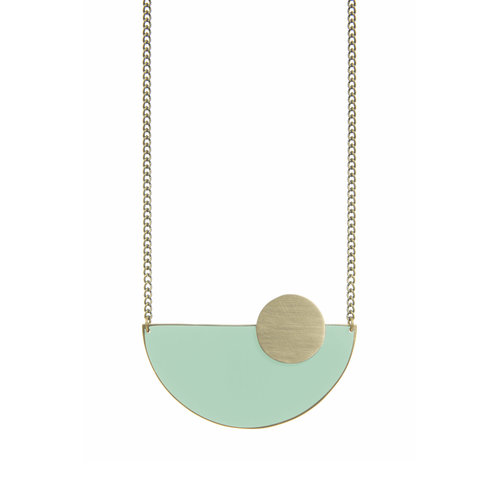 Just Trade Mint semi-circle brass necklace 016