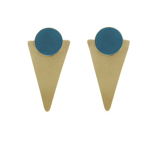 Just Trade Teal conical brass statement stud earrings 017
