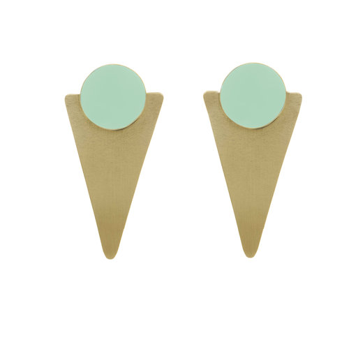 Just Trade Mint conical brass statement stud earrings 018