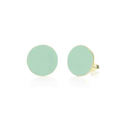 Just Trade Mint round brass stud earrings 019