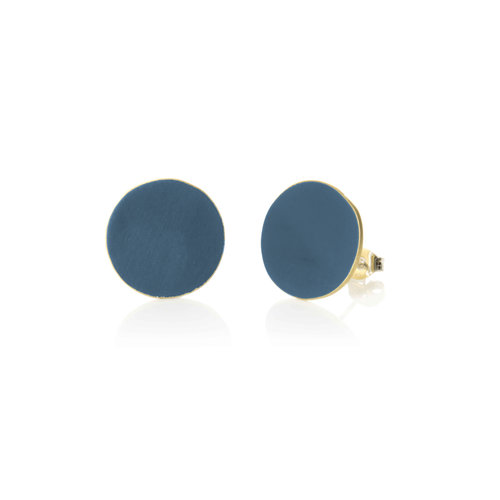 Just Trade Teal round brass stud earrings 020