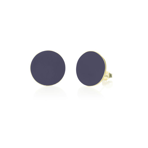Just Trade Navy round brass stud earrings 021