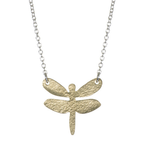 Just Trade Dragonfly brass and silver necklace 023