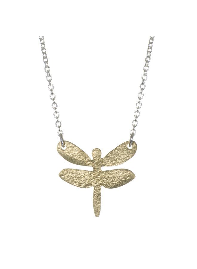 Libelle Messing und Silber Halskette 023