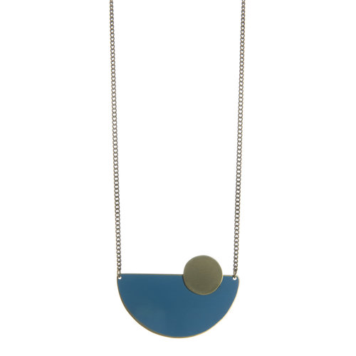 Just Trade Teal semi-circle brass necklace 013