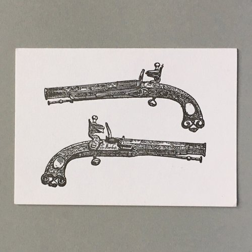 Keyhole Collection Pistols  hand crafted letterpress card