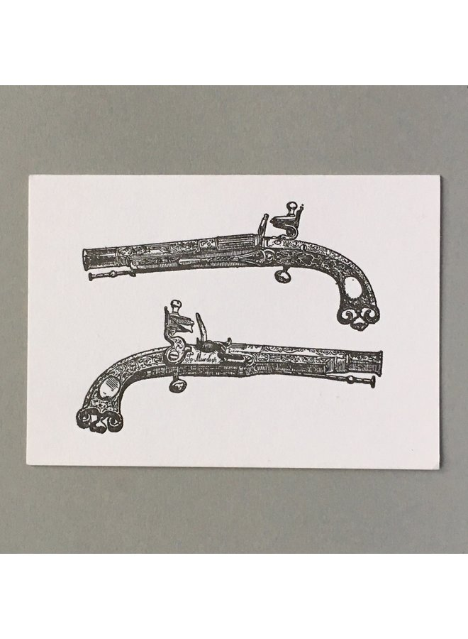 Pistols  hand crafted letterpress card