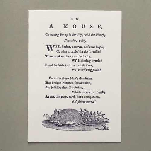 Keyhole Collection To A Mouse hand crafted letterpress card