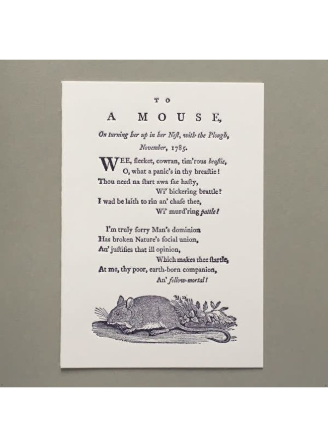 To A Mouse hand crafted letterpress card