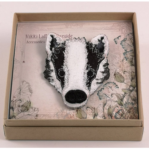 Vikki Lafford Garside Badger embroidered brooch 074