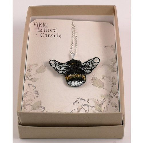 Vikki Lafford Garside Bumblebee embroidered necklace 077