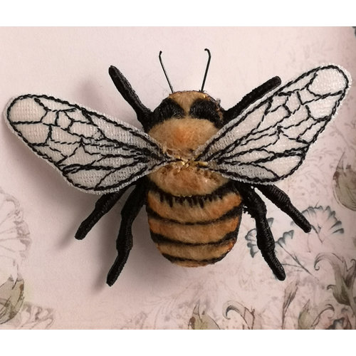 Vikki Lafford Garside Common Carder Bee embroidered brooch 071