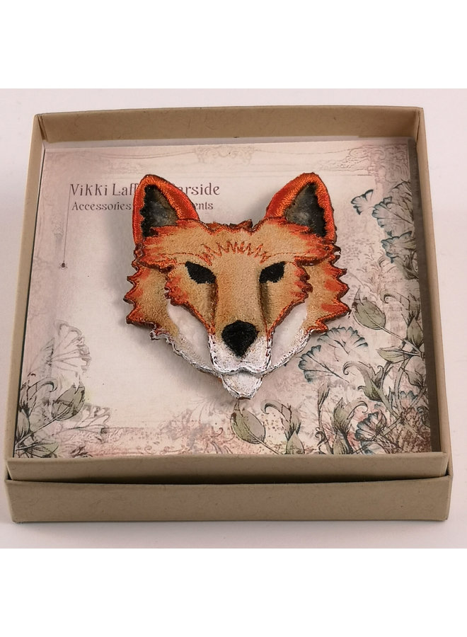 Fox bestickte Brosche 076