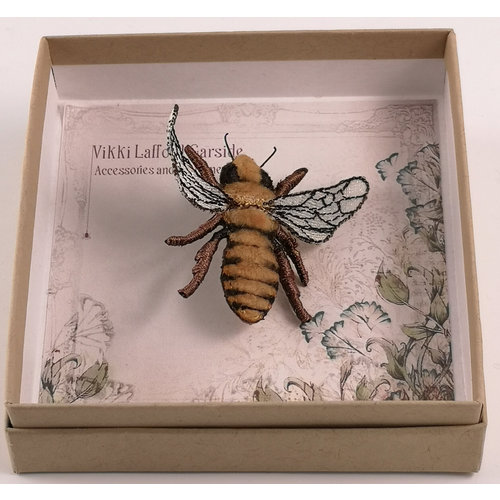 Vikki Lafford Garside Honey Bee embroidered brooch 070