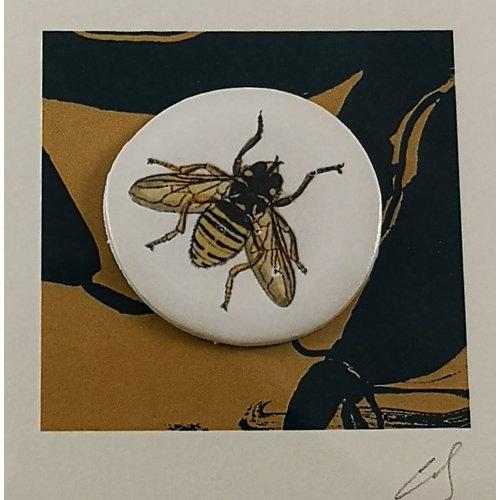 Caroline Barnes Bee hand made print and ceramic disc card 16