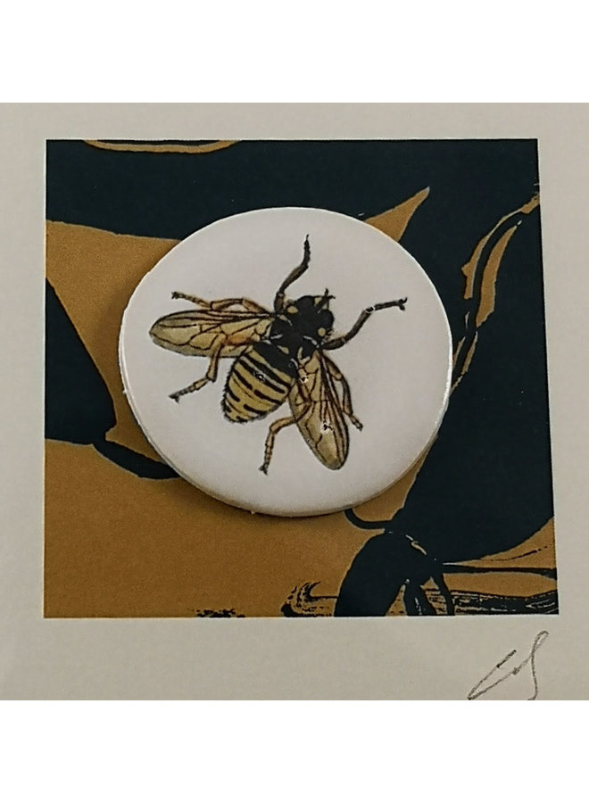 Bee hand made print and ceramic disc card 16
