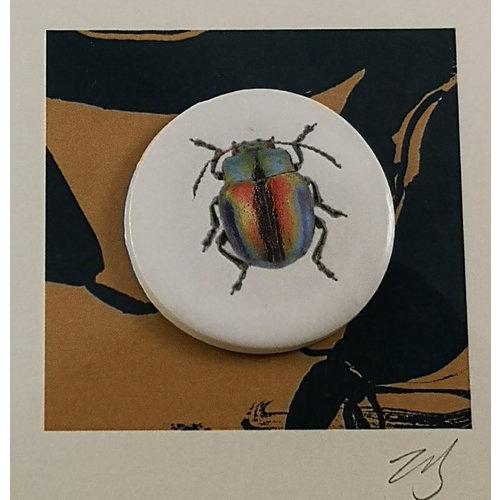 Caroline Barnes Beetle handmade card with decorative ceramic disc 018