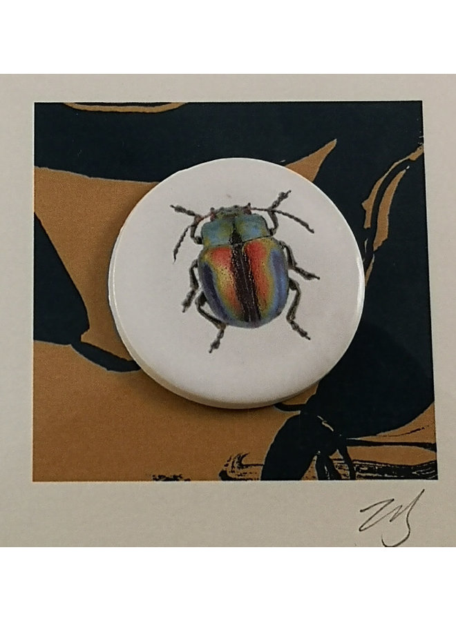 Beetle handmade card with decorative ceramic disc 018