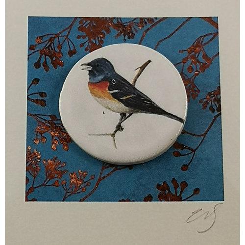 Caroline Barnes Bluethroat bird handmade card with decorative ceramic disc 003