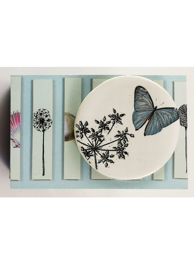 Butterfly and flower round ceramic pin brooch 023