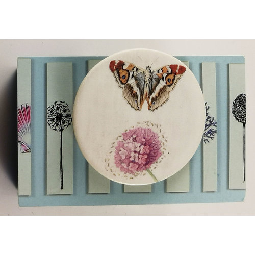 Caroline Barnes Butterfly and pink flower round ceramic pin brooch 024