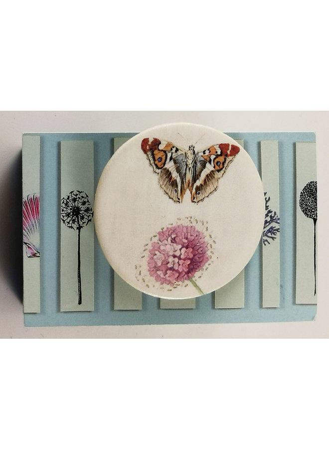 Butterfly and pink flower round ceramic pin brooch 024