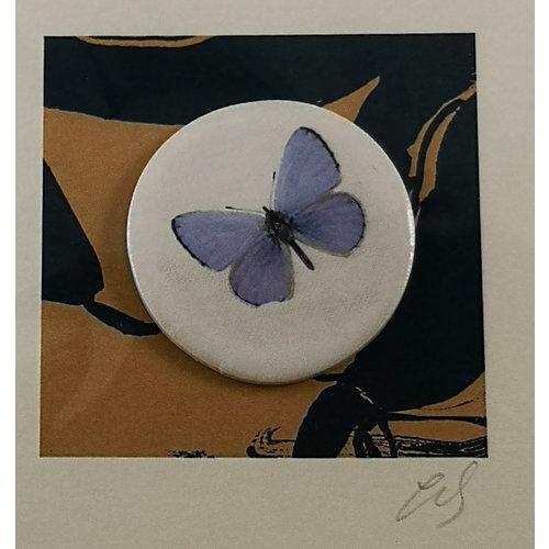 Caroline Barnes Chalkhill Blue handmade card with decorative ceramic disc 008