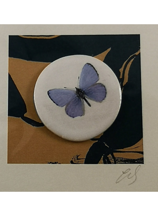 Chalkhill Blue handmade card with decorative ceramic disc 008