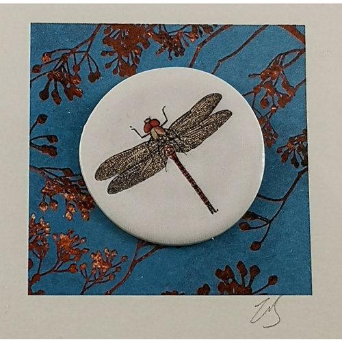 Caroline Barnes Dragonfly 1  handmade card with decorative ceramic disc 013