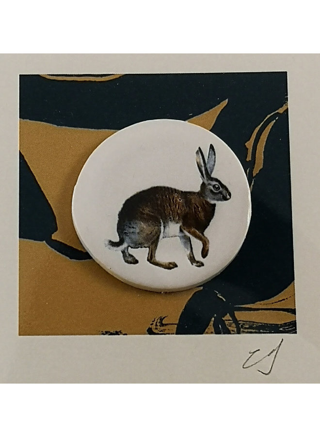 Hare handmade card with decorative ceramic disc 038