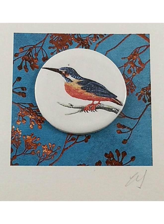 Kingfisher bird handmade card with decorative ceramic disc 005