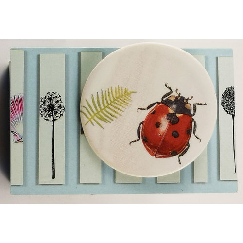 Caroline Barnes Ladybird and fern round ceramic pin brooch 020