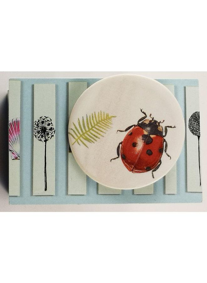Ladybird and fern round ceramic pin brooch 020