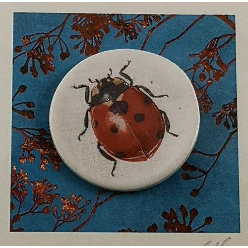 Caroline Barnes Ladybird handmade card with decorative ceramic disc 017