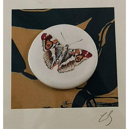Caroline Barnes Orange tip handmade card with decorative ceramic disc 012