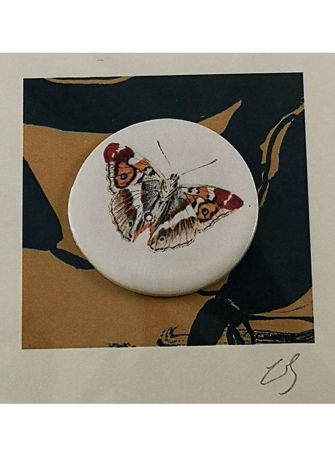 Orange tip handmade card with decorative ceramic disc 012