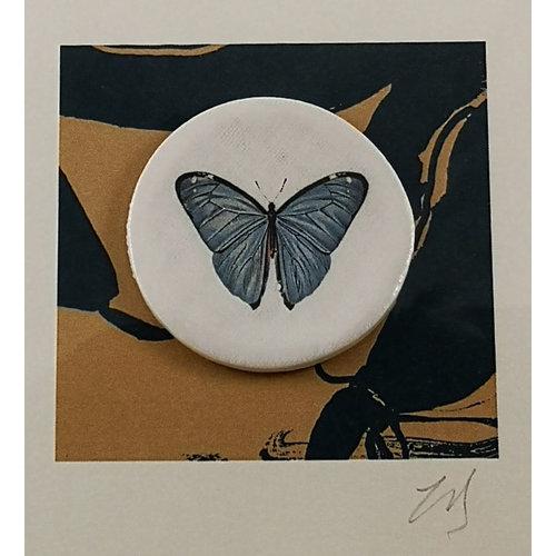 Caroline Barnes Holly Blue handmade card with decorative ceramic disc 010