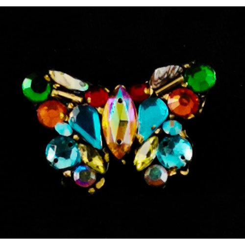 Annie Sherburne Broche vintage azul y multi mariposa 168