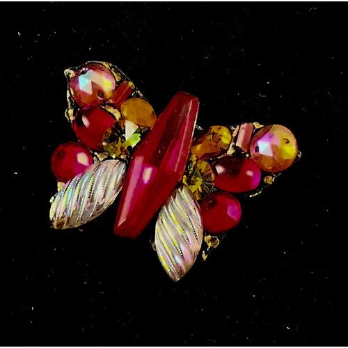 Annie Sherburne Red butterfly vintage brooch 167