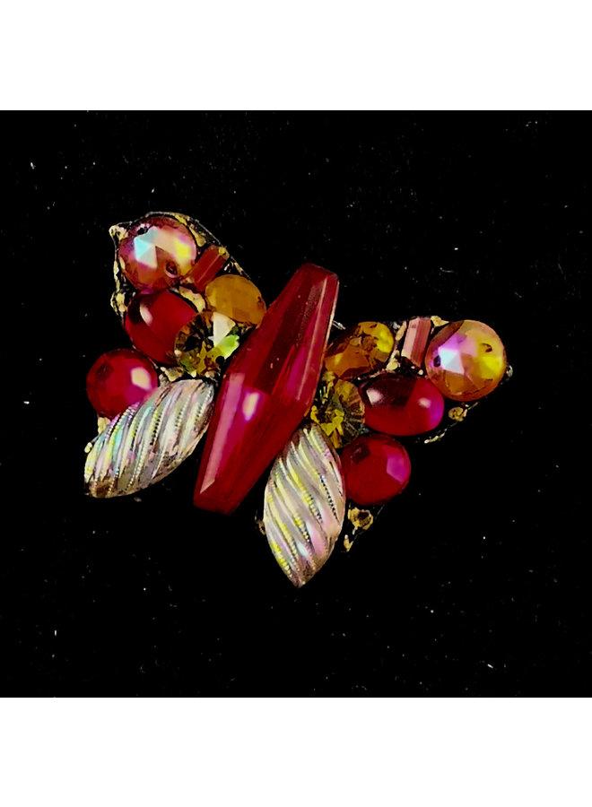 Rote Schmetterlingsweinlesebrosche 167