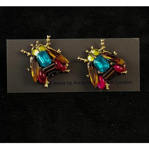 Annie Sherburne Pendientes de cristal de abeja vintage 172