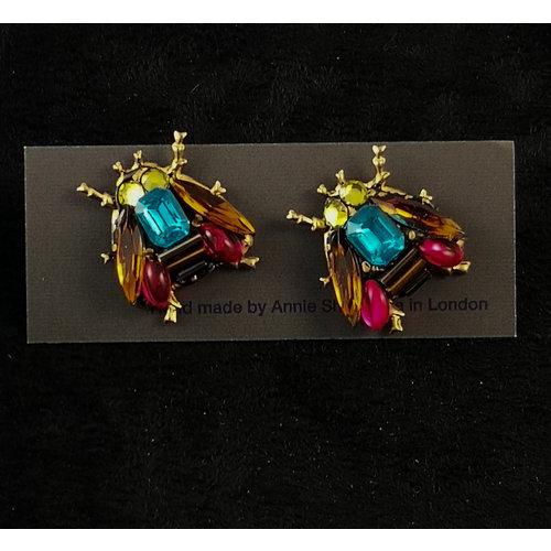 Annie Sherburne Vintage  bee  Stud crystal earrings 172