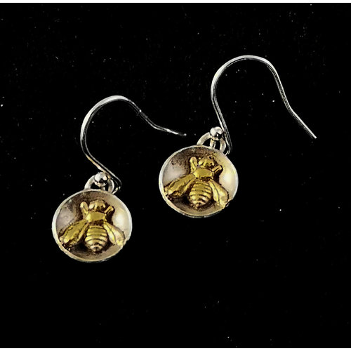 Xuella Arnold Tiny Bee in silver dome circle drop earrings 27
